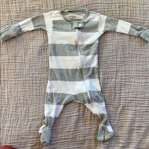 Burt's Bee Baby gray striped footie